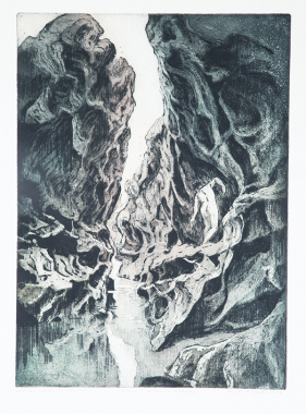 Figur i vulkansk landskap